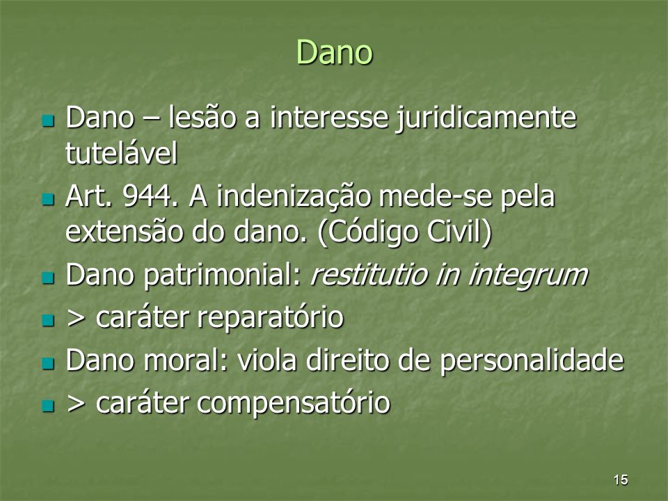 Dano Dano – lesão a interesse juridicamente tutelável