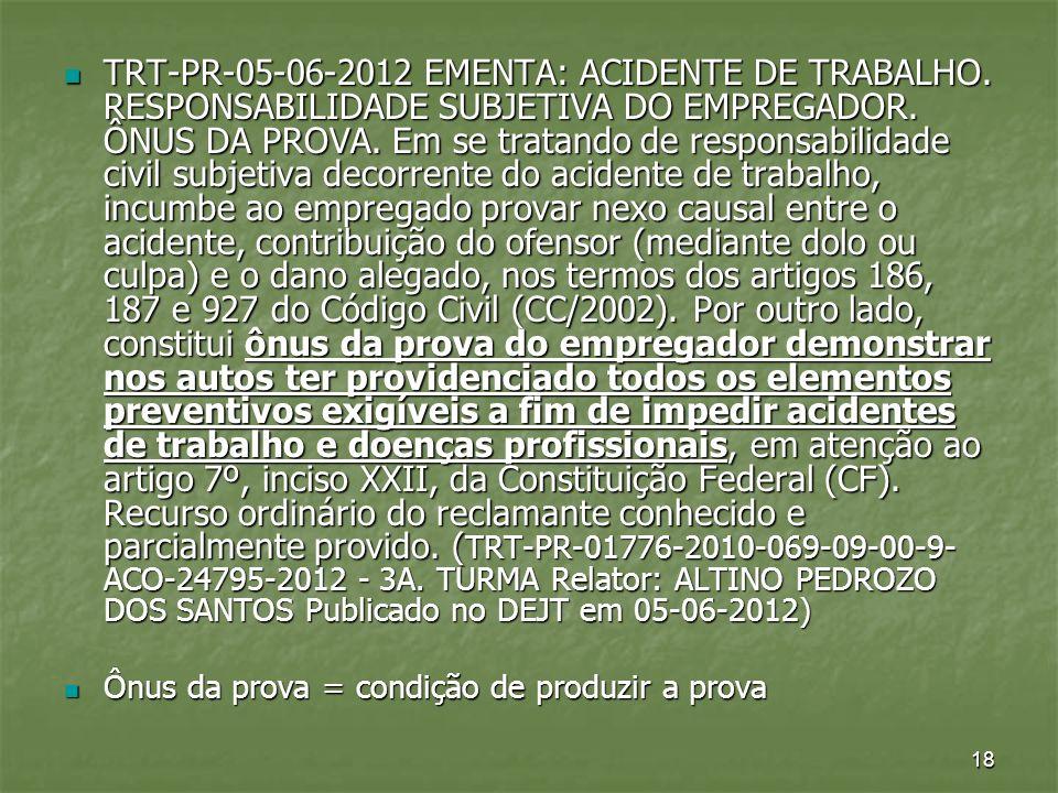TRT-PR-05-06-2012 EMENTA: ACIDENTE DE TRABALHO