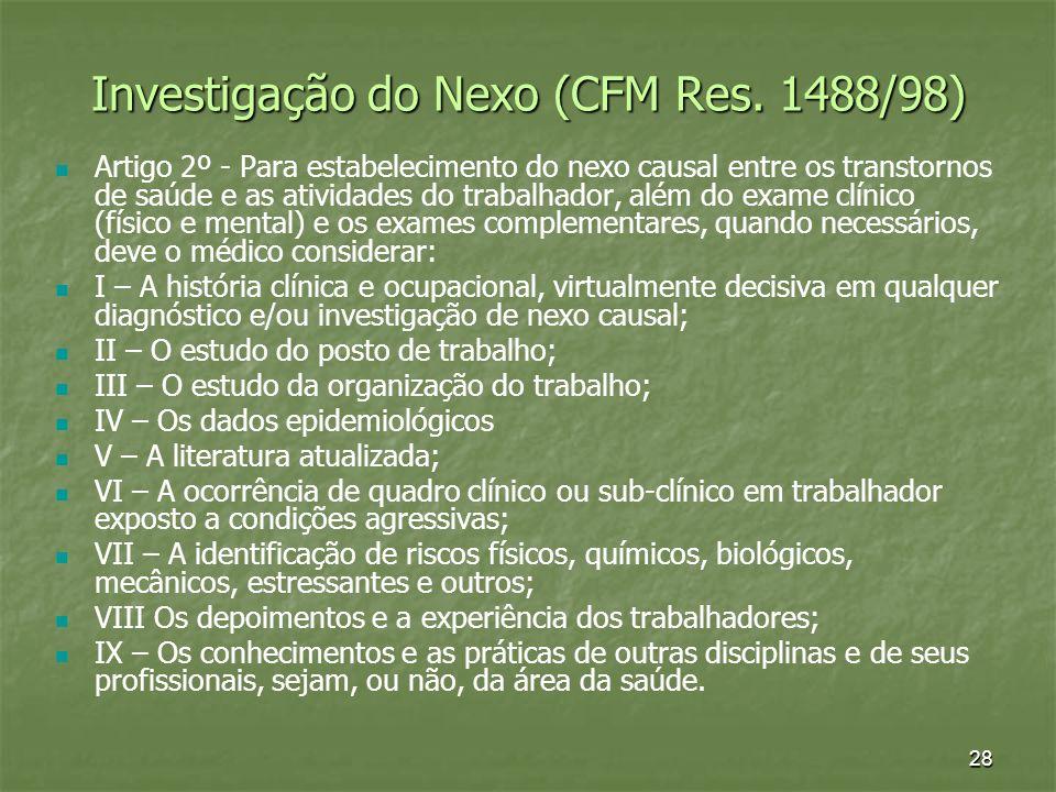 Investigação do Nexo (CFM Res. 1488/98)