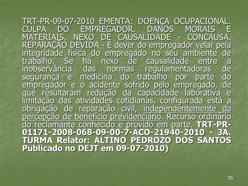 TRT-PR-09-07-2010 EMENTA: DOENÇA OCUPACIONAL. CULPA DO EMPREGADOR