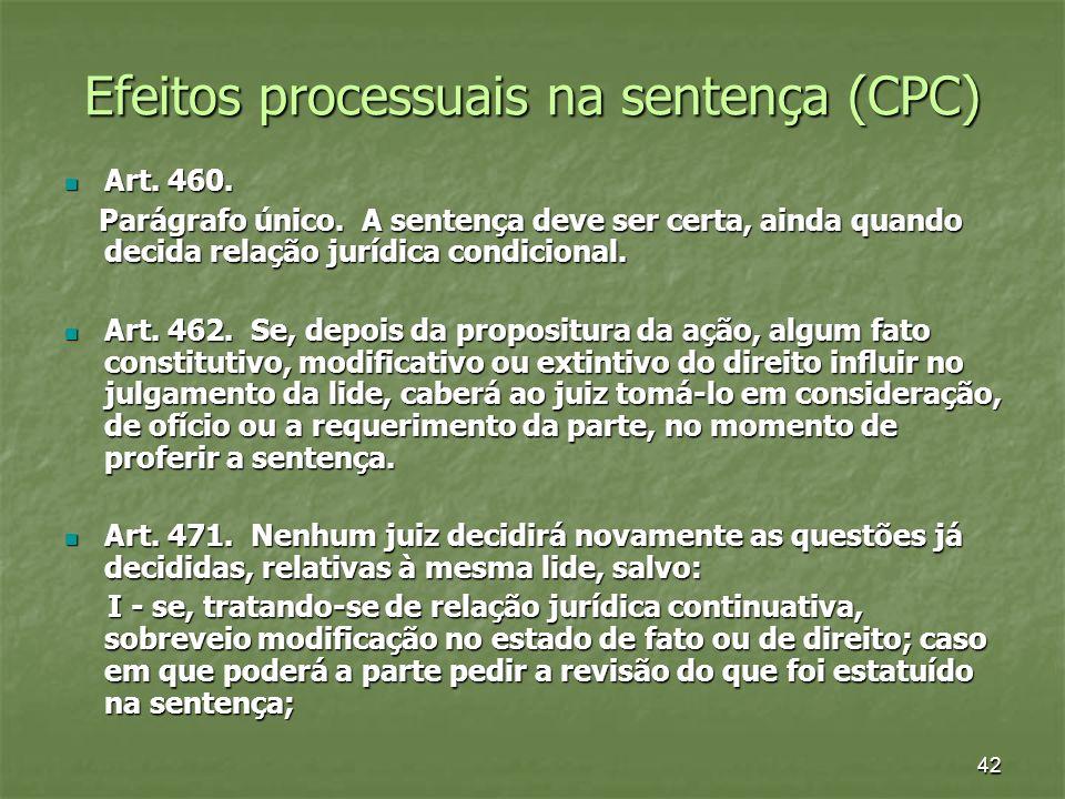 Efeitos processuais na sentença (CPC)