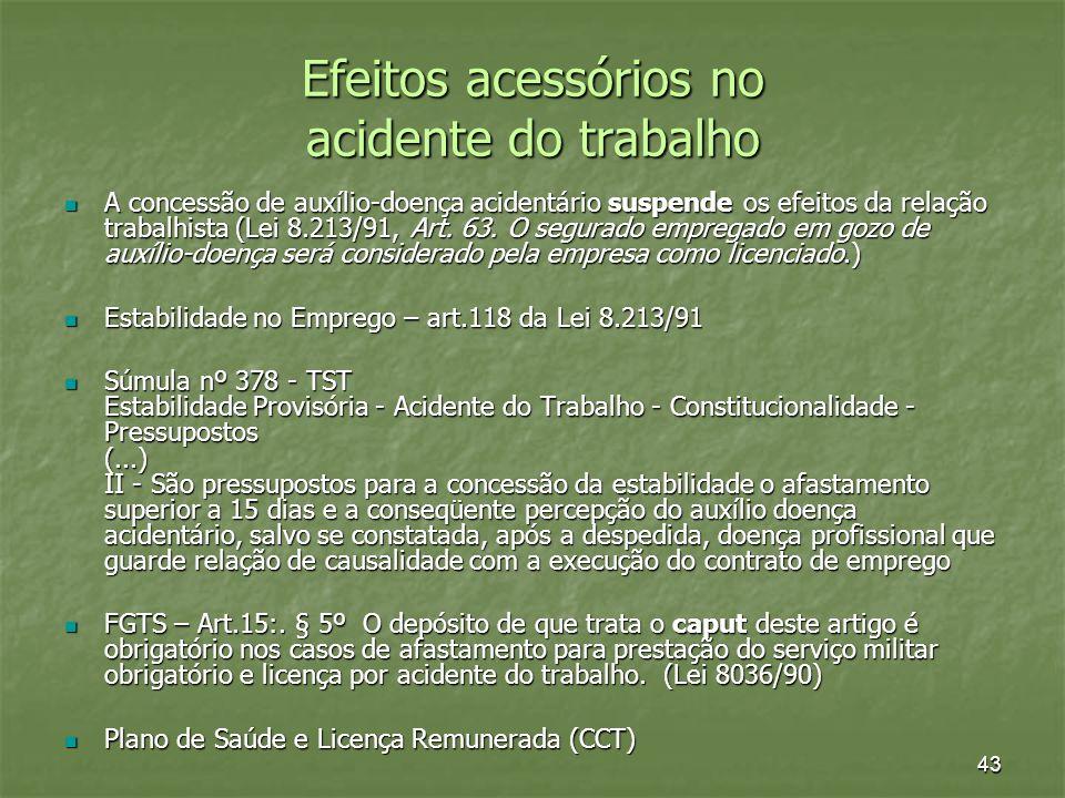 Efeitos acessórios no acidente do trabalho