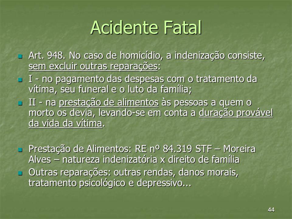 Acidente Fatal Art. 948. No caso de homicídio, a indenização consiste, sem excluir outras reparações: