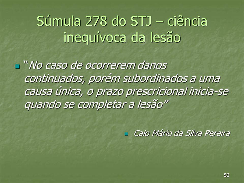 Súmula 278 do STJ – ciência inequívoca da lesão