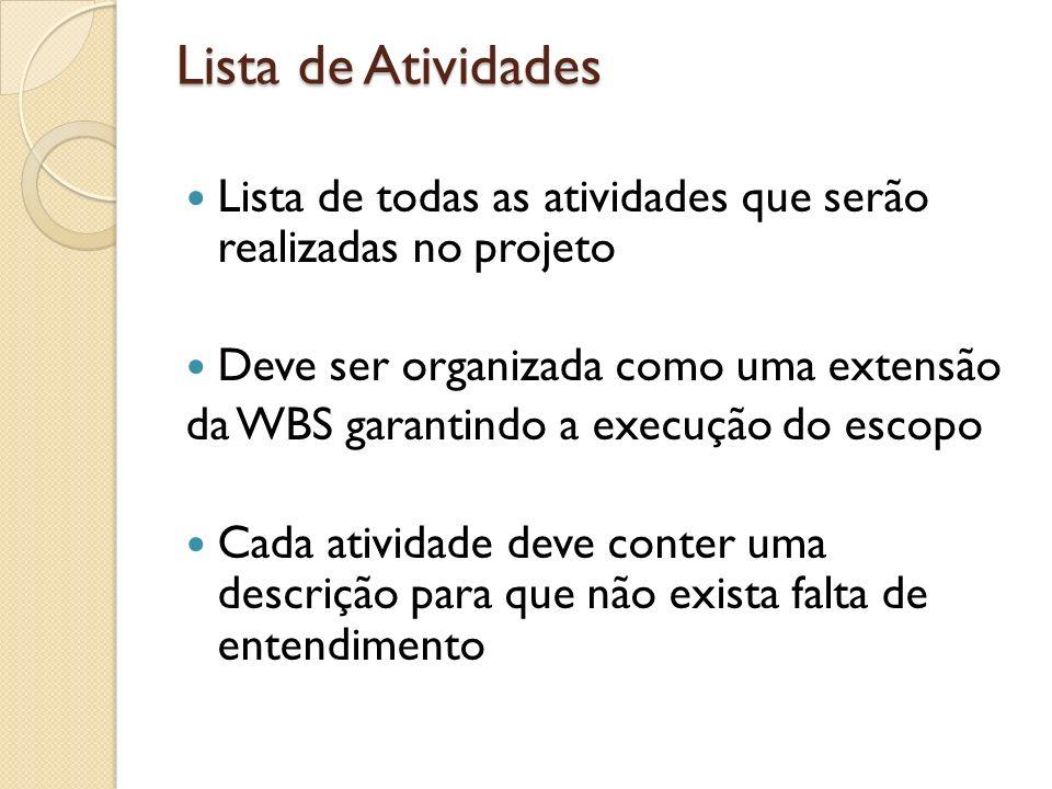 Lista de Atividades Lista de todas as atividades que serão realizadas no projeto. Deve ser organizada como uma extensão.