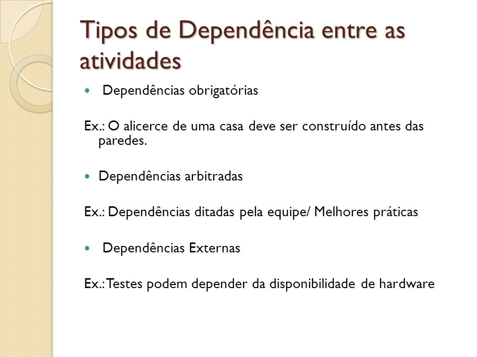 Tipos de Dependência entre as atividades