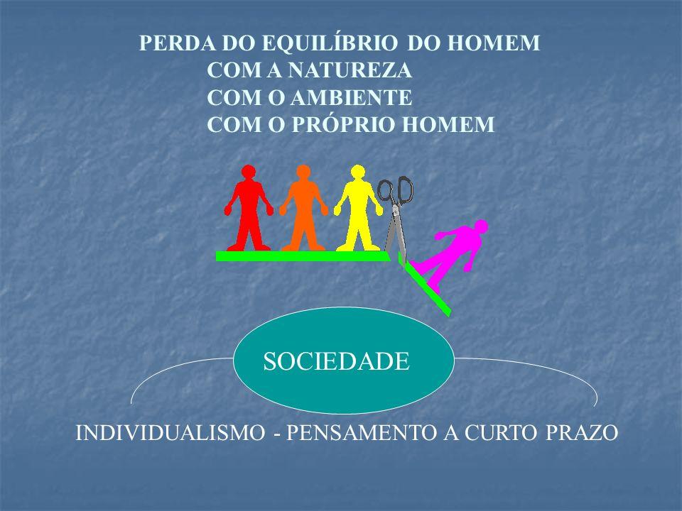 SOCIEDADE PERDA DO EQUILÍBRIO DO HOMEM COM A NATUREZA COM O AMBIENTE