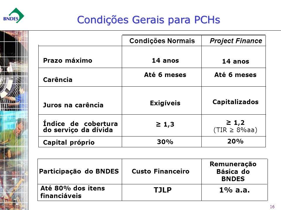 Condições Gerais para PCHs