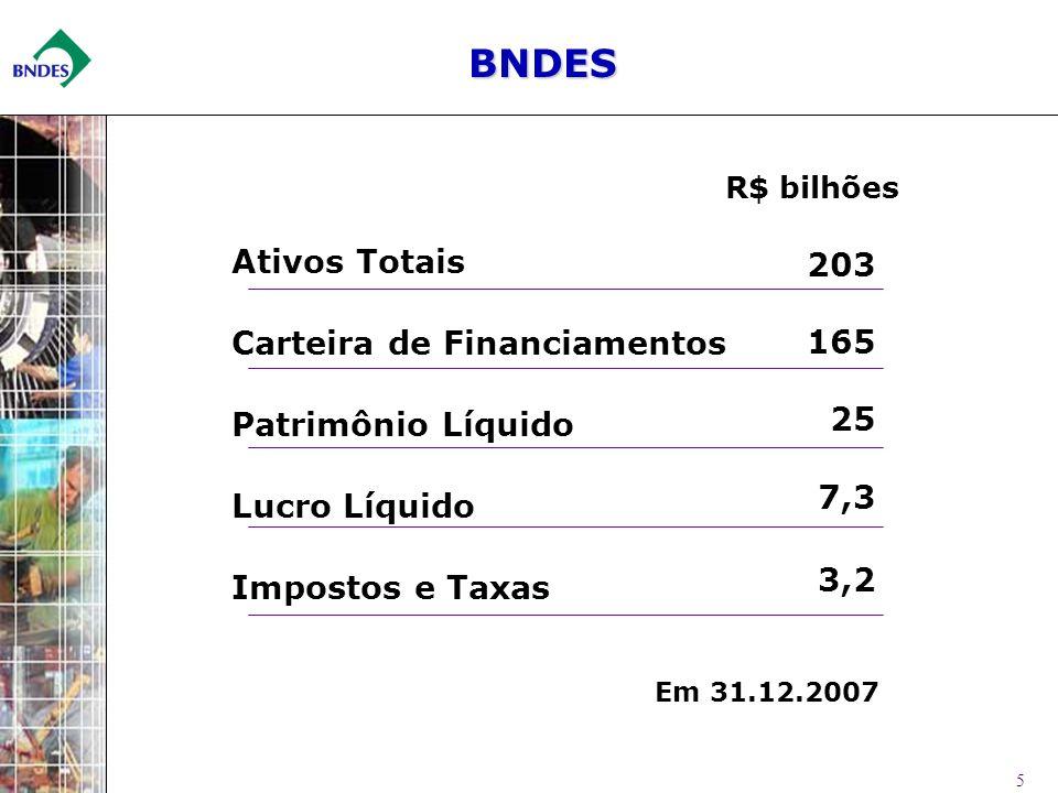 BNDES 203 Ativos Totais 165 Carteira de Financiamentos 25