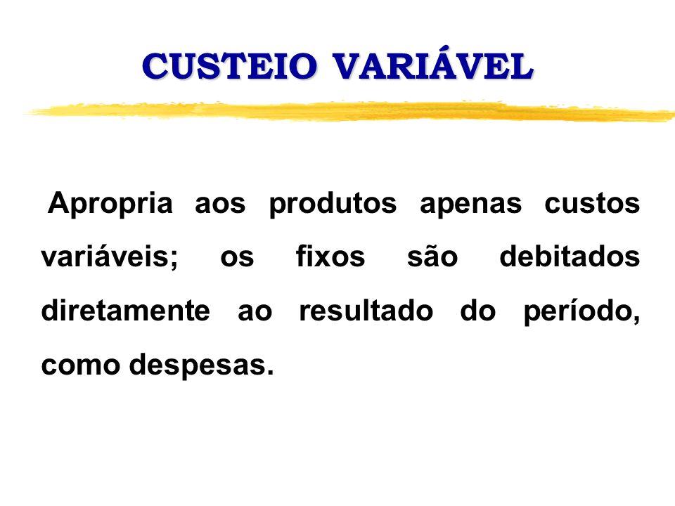 CUSTEIO VARIÁVEL Apropria aos produtos apenas custos variáveis; os fixos são debitados diretamente ao resultado do período, como despesas.