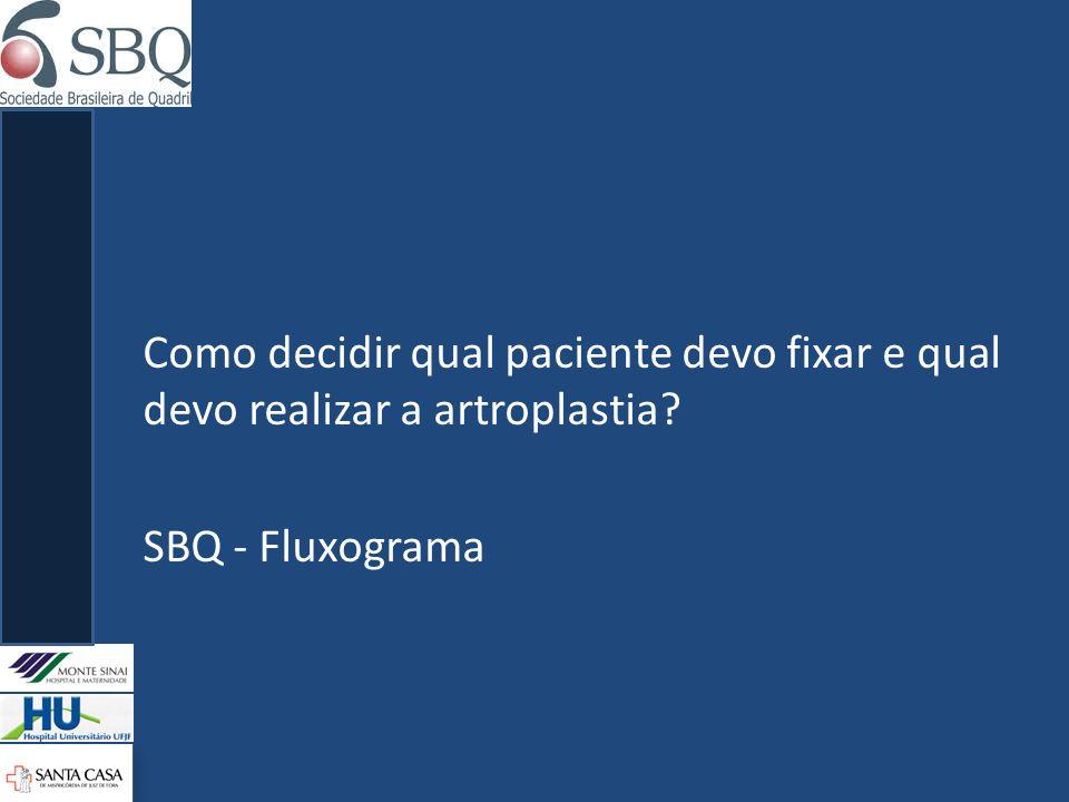 Como decidir qual paciente devo fixar e qual devo realizar a artroplastia SBQ - Fluxograma