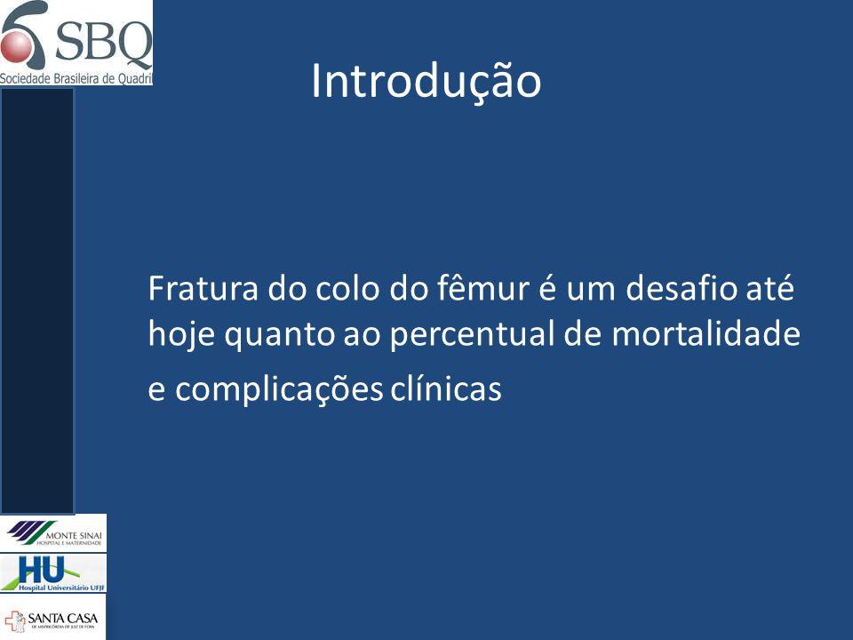 Introdução Fratura do colo do fêmur é um desafio até hoje quanto ao percentual de mortalidade e complicações clínicas