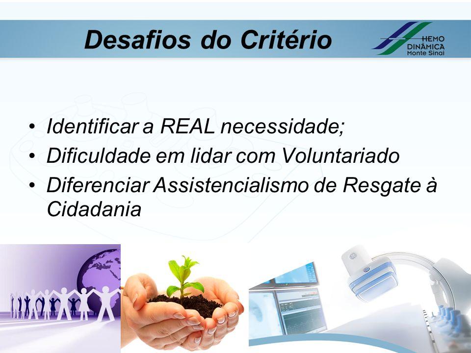 Desafios do Critério Identificar a REAL necessidade;