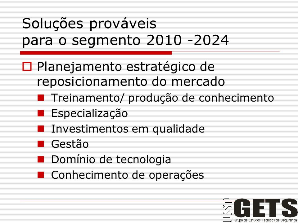 Soluções prováveis para o segmento 2010 -2024
