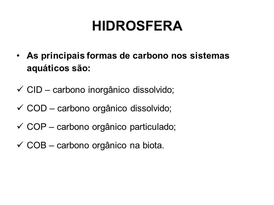 HIDROSFERA As principais formas de carbono nos sistemas aquáticos são:
