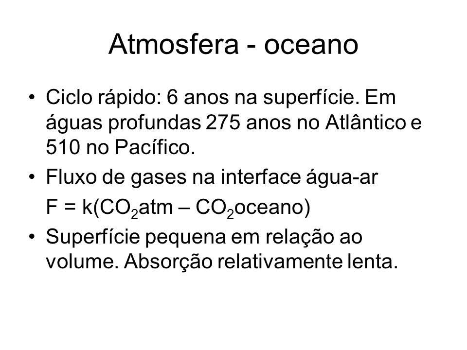Atmosfera - oceano Ciclo rápido: 6 anos na superfície. Em águas profundas 275 anos no Atlântico e 510 no Pacífico.