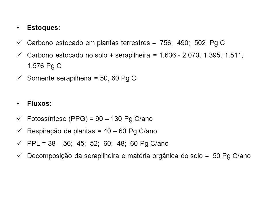 Estoques: Carbono estocado em plantas terrestres = 756; 490; 502 Pg C.