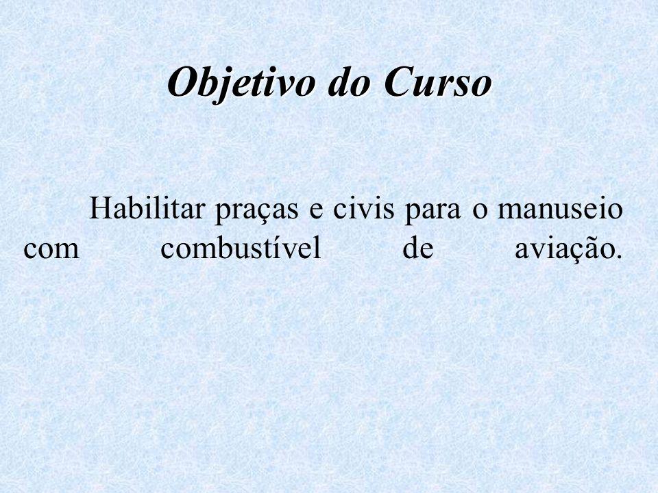 Objetivo do Curso Habilitar praças e civis para o manuseio com combustível de aviação.