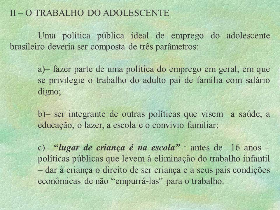 II – O TRABALHO DO ADOLESCENTE