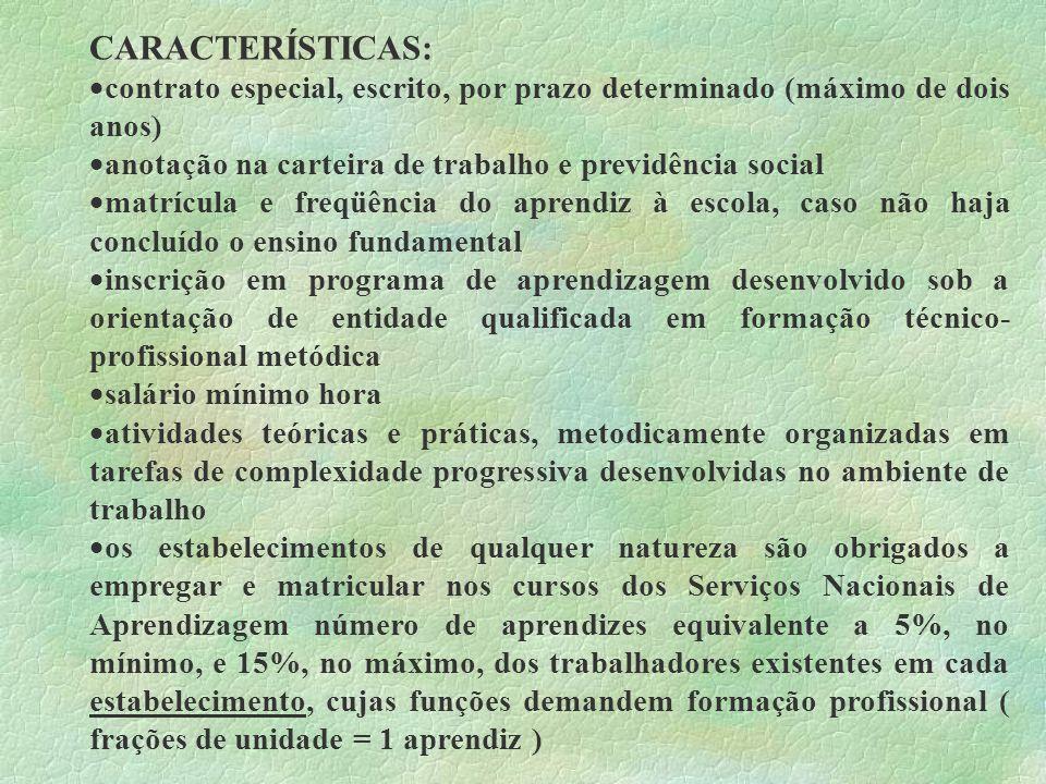 CARACTERÍSTICAS: contrato especial, escrito, por prazo determinado (máximo de dois anos) anotação na carteira de trabalho e previdência social.
