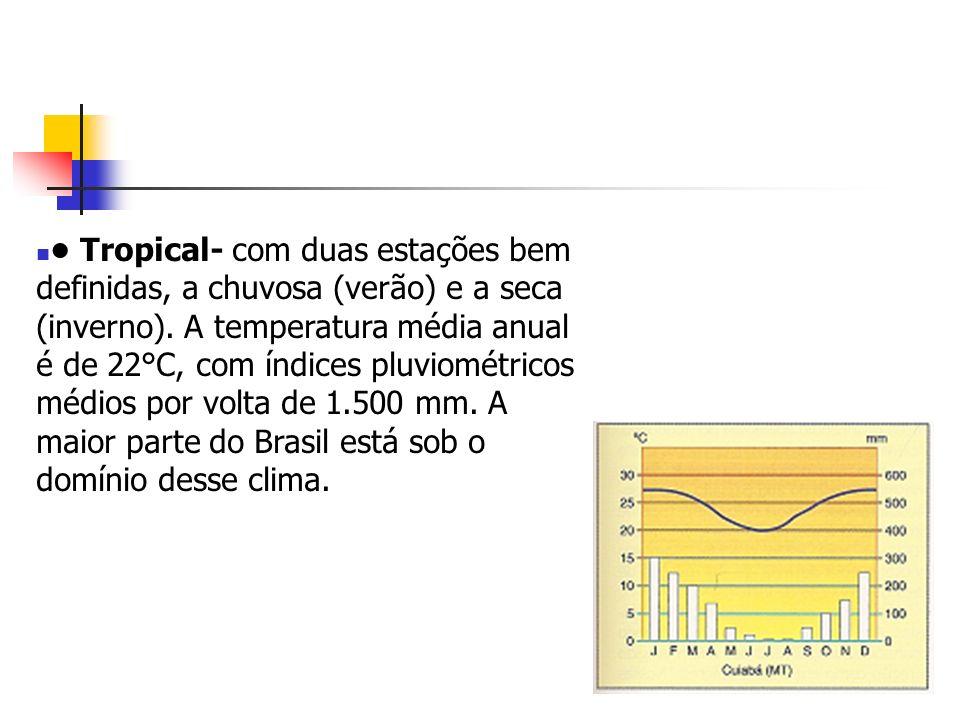 • Tropical- com duas estações bem definidas, a chuvosa (verão) e a seca (inverno).