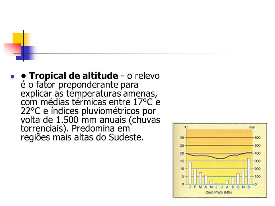• Tropical de altitude - o relevo é o fator preponderante para explicar as temperaturas amenas, com médias térmicas entre 17°C e 22°C e índices pluviométricos por volta de 1.500 mm anuais (chuvas torrenciais).