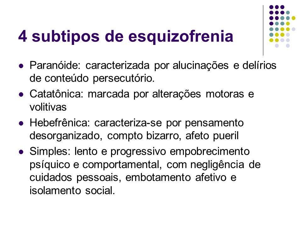 4 subtipos de esquizofrenia