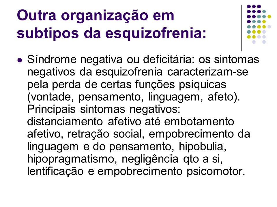 Outra organização em subtipos da esquizofrenia: