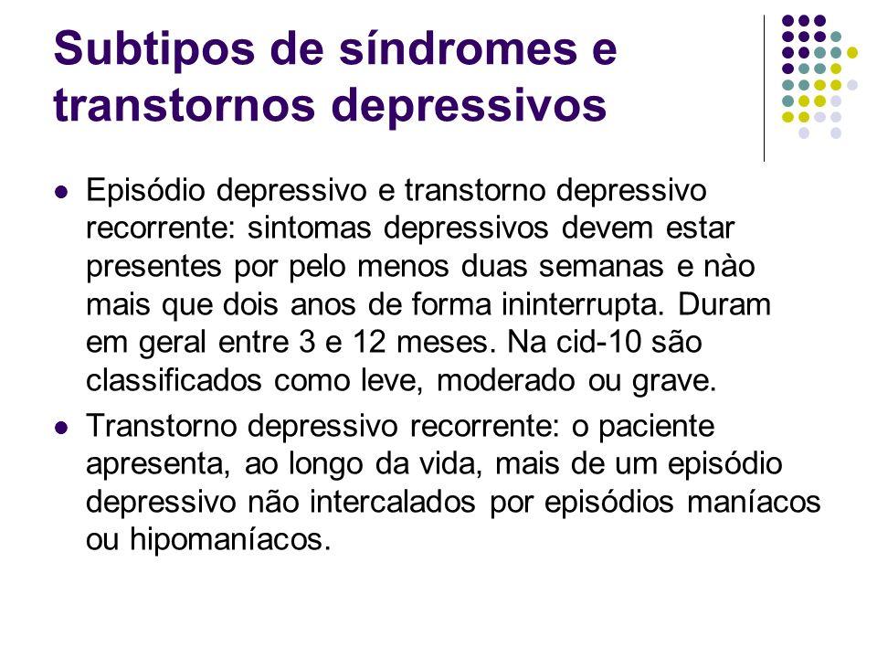 Subtipos de síndromes e transtornos depressivos