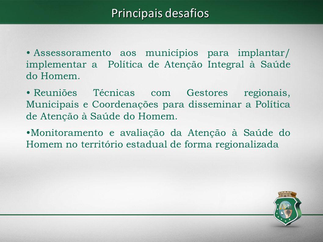 Principais desafios Assessoramento aos municípios para implantar/ implementar a Política de Atenção Integral à Saúde do Homem.
