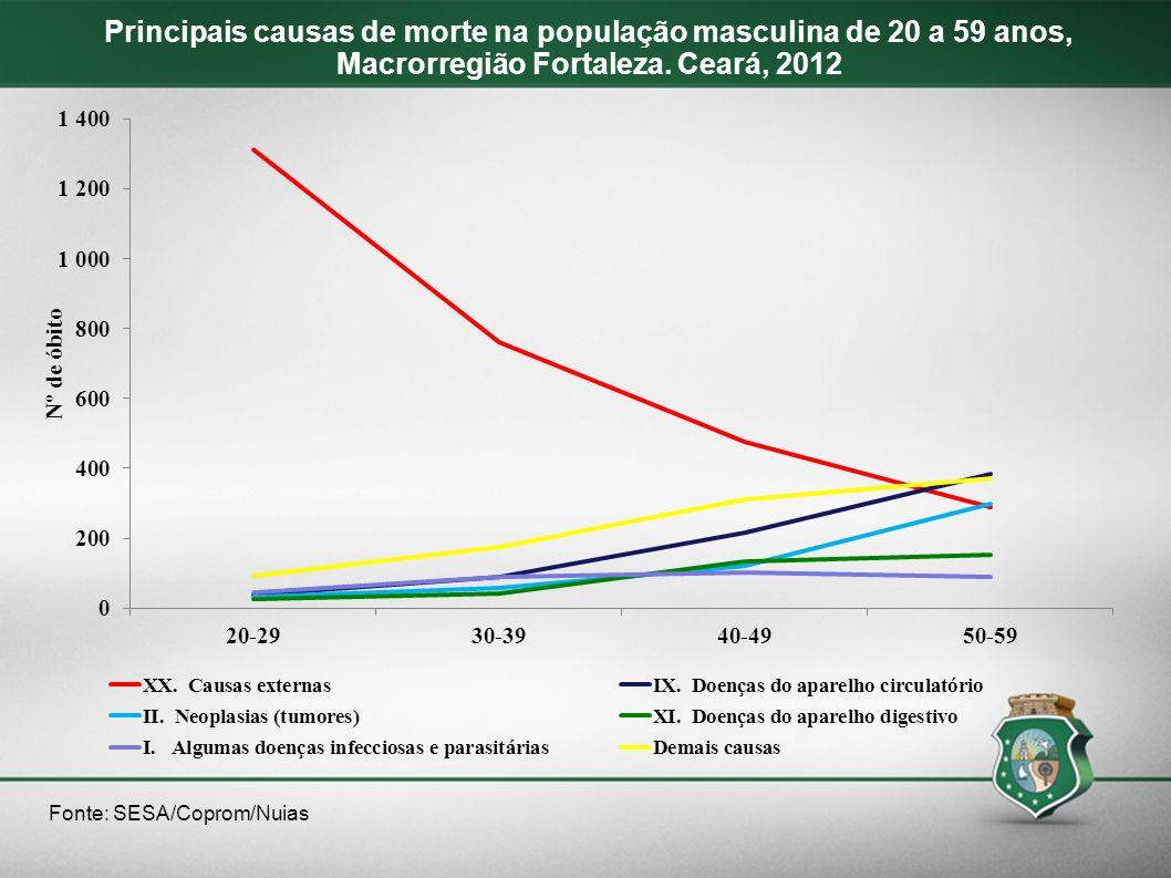 Principais causas de morte na população masculina de 20 a 59 anos, Macrorregião Fortaleza. Ceará, 2012