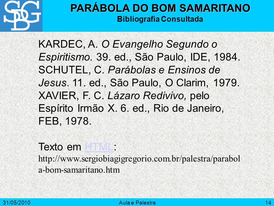 PARÁBOLA DO BOM SAMARITANO Bibliografia Consultada