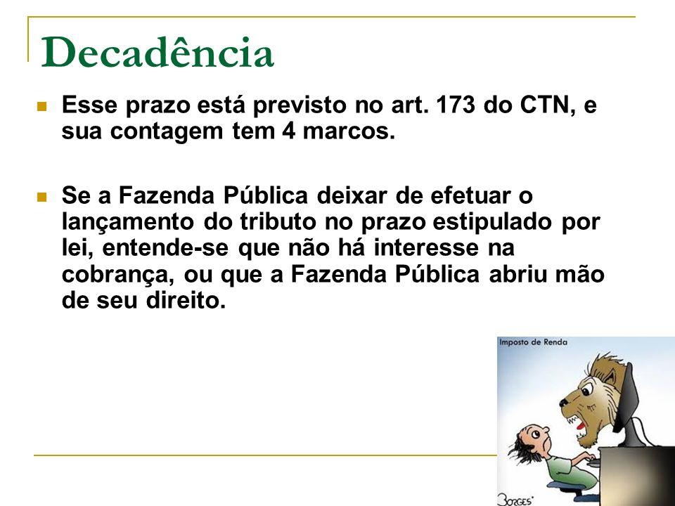 Decadência Esse prazo está previsto no art. 173 do CTN, e sua contagem tem 4 marcos.