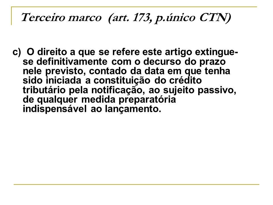 Terceiro marco (art. 173, p.único CTN)
