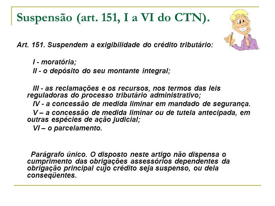 Suspensão (art. 151, I a VI do CTN).
