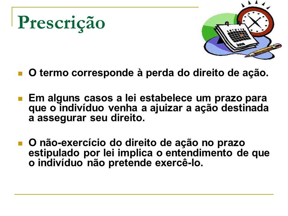 Prescrição O termo corresponde à perda do direito de ação.