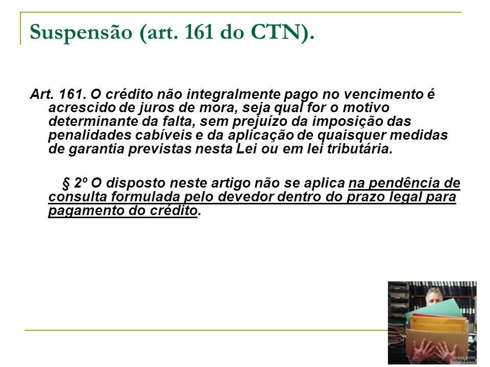 Suspensão (art. 161 do CTN).