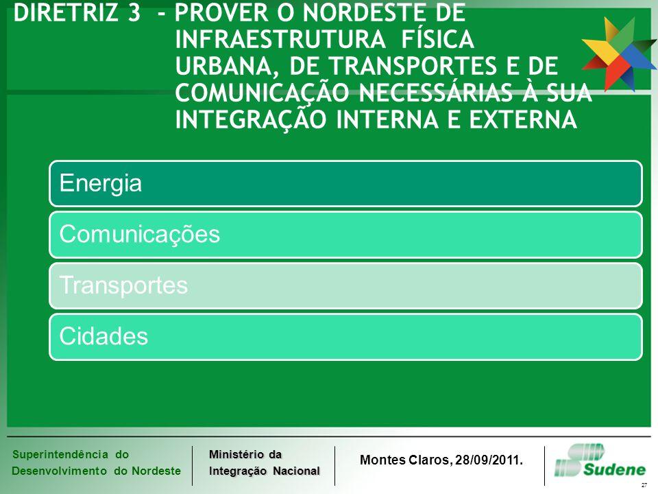DIRETRIZ 3 - PROVER O NORDESTE DE. INFRAESTRUTURA. FÍSICA