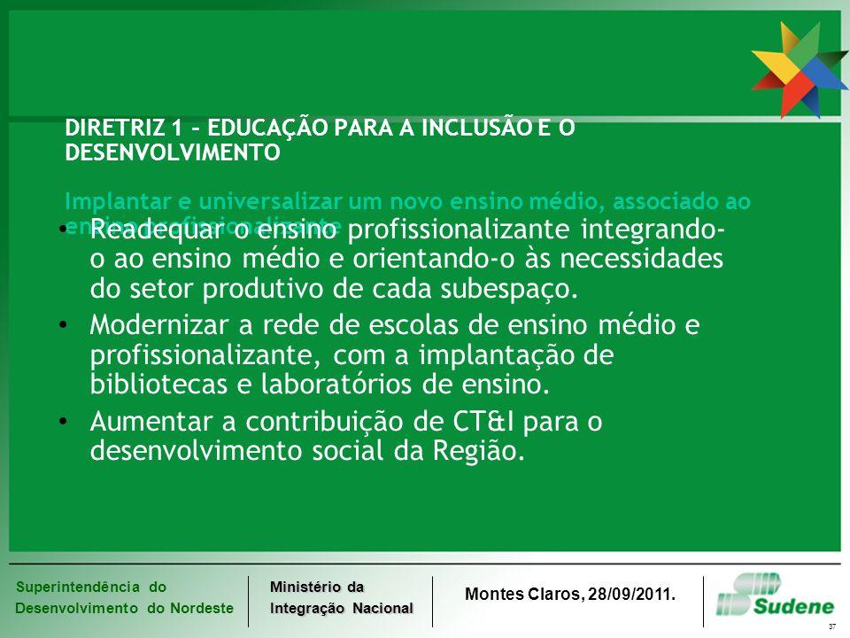 DIRETRIZ 1 - EDUCAÇÃO PARA A INCLUSÃO E O DESENVOLVIMENTO Implantar e universalizar um novo ensino médio, associado ao ensino profissionalizante