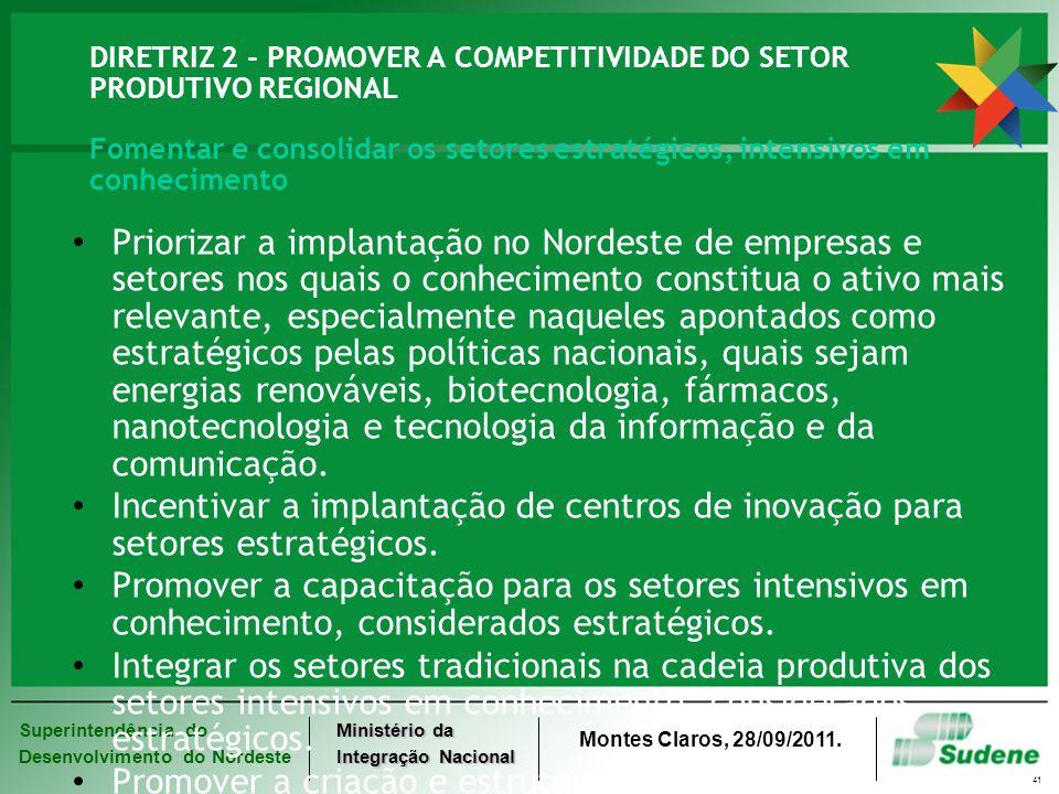 DIRETRIZ 2 - PROMOVER A COMPETITIVIDADE DO SETOR PRODUTIVO REGIONAL Fomentar e consolidar os setores estratégicos, intensivos em conhecimento
