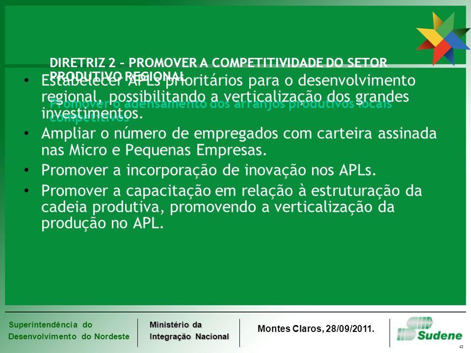 Promover a incorporação de inovação nos APLs.