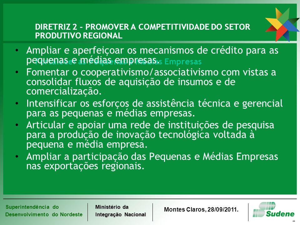 DIRETRIZ 2 - PROMOVER A COMPETITIVIDADE DO SETOR PRODUTIVO REGIONAL Fortalecer as Pequenas e Médias Empresas
