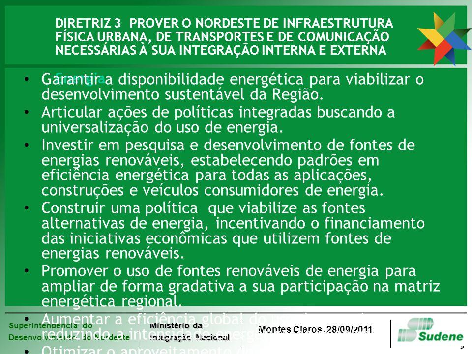 DIRETRIZ 3 PROVER O NORDESTE DE INFRAESTRUTURA FÍSICA URBANA, DE TRANSPORTES E DE COMUNICAÇÃO NECESSÁRIAS À SUA INTEGRAÇÃO INTERNA E EXTERNA Energia