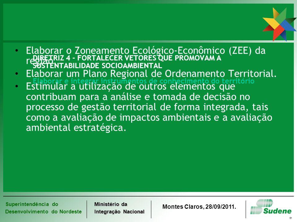 Elaborar o Zoneamento Ecológico-Econômico (ZEE) da região.