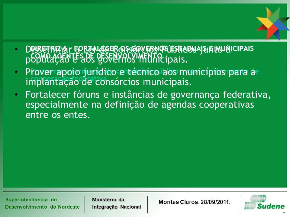 DIRETRIZ 6 - FORTALECER OS GOVERNOS ESTADUAIS E MUNICIPAIS COMO AGENTES DE DESENVOLVIMENTO Promover a formação de consórcios públicos, como instrumento de cooperação federativa