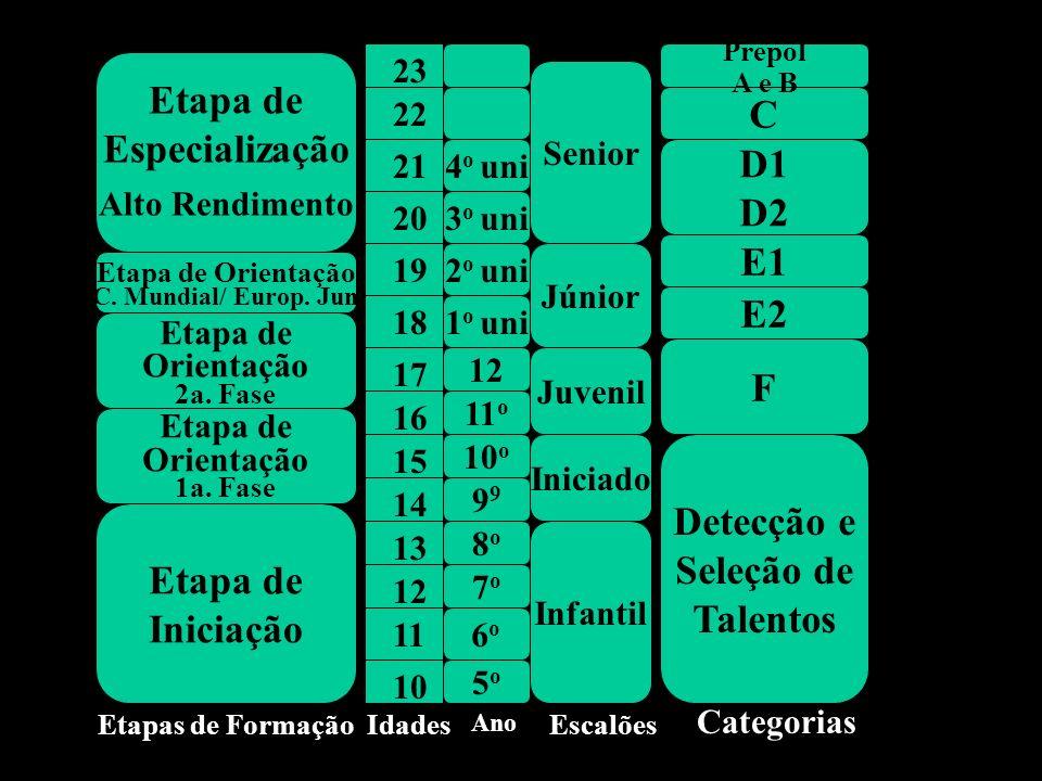 Etapa de Especialização C D1 D2 E1 E2 F Detecção e Seleção de Talentos