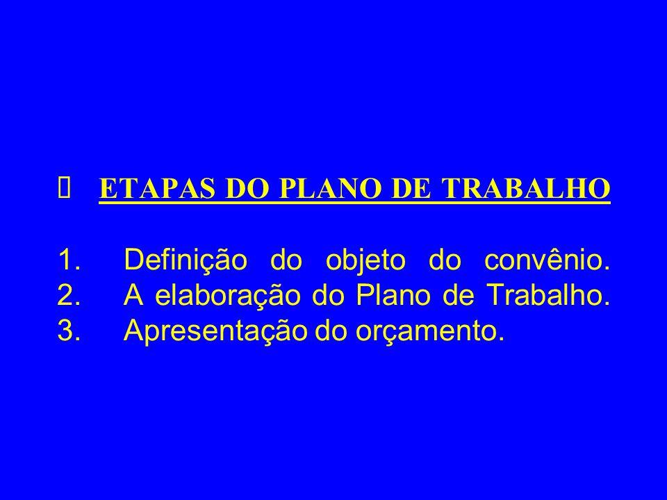 Ø ETAPAS DO PLANO DE TRABALHO 1. Definição do objeto do convênio. 2