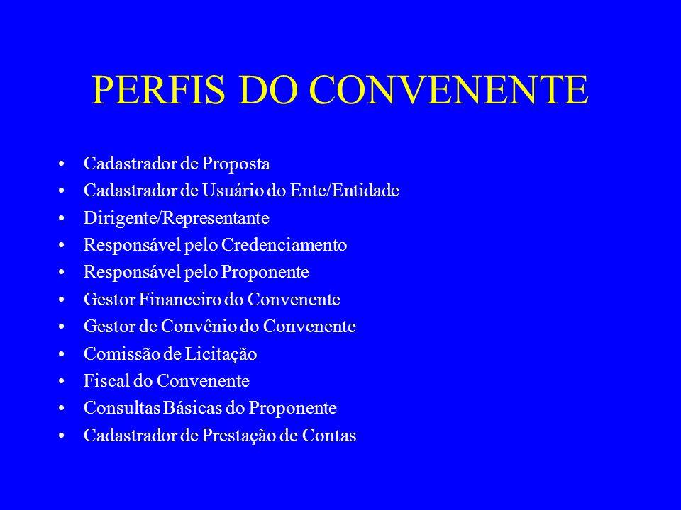 PERFIS DO CONVENENTE Cadastrador de Proposta