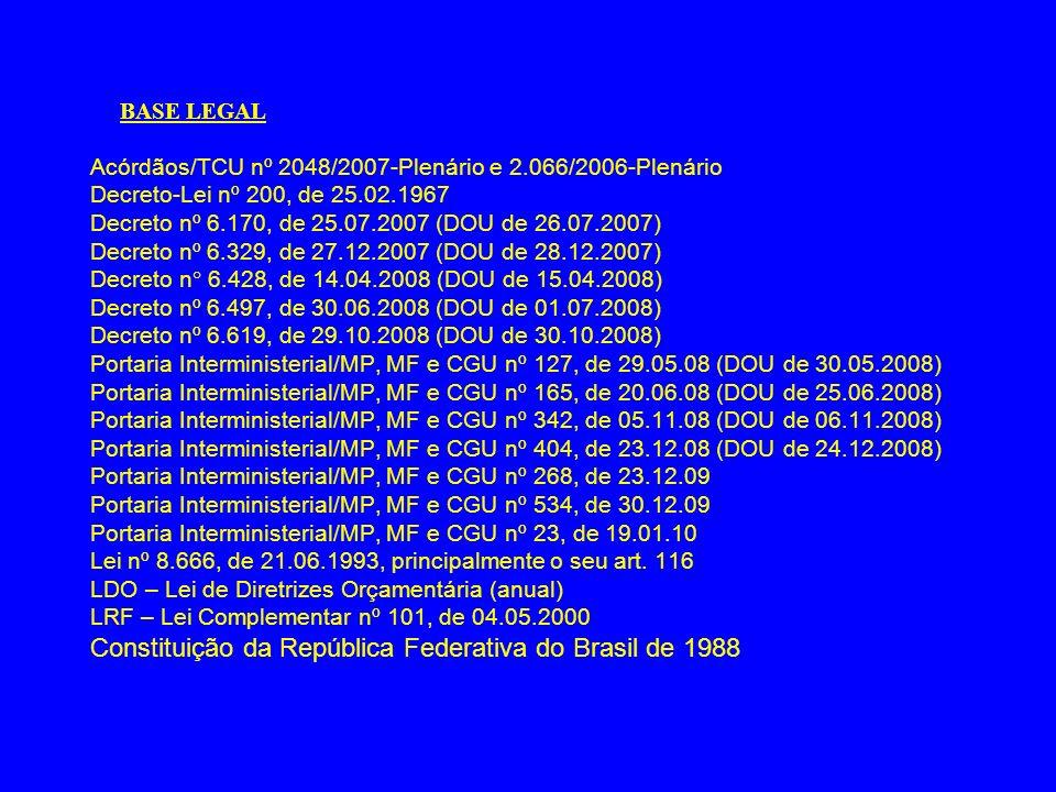 BASE LEGAL Acórdãos/TCU nº 2048/2007-Plenário e 2