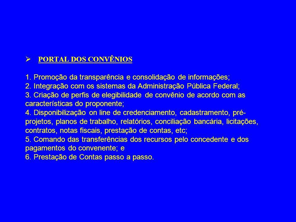 Ø PORTAL DOS CONVÊNIOS 1.Promoção da transparência e consolidação de informações; 2.